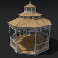 gazebo unwrapped wood 3d model