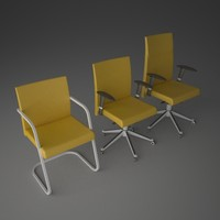 3d set office chairs model