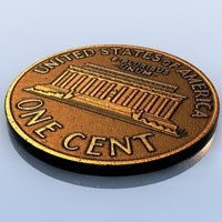 Coin.US Penny (1 Cent).LowPoly