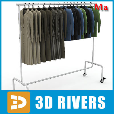 Clothes rack 03 full v1 by 3DRivers