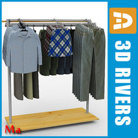 retail clothing rack v1 3d model