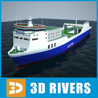 Ro-ro container ship 02 by 3DRivers