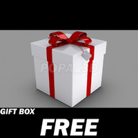 Gift Box with Red rubbons