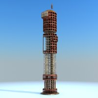 Sci Fi Ruined building Tower 04