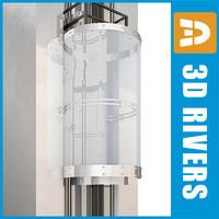 3dsmax glass panoramic elevator