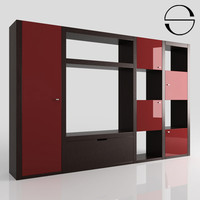 bookcase wood modern 3d model
