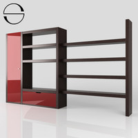 3d bookcase wood modern