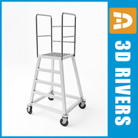 3d model ladder steps rigid