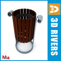 3d model of wooden bin dustbin