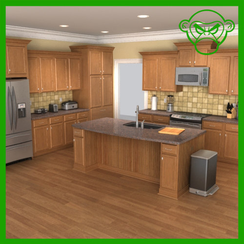 Kitchen appliance set 3d max for Full set kitchen