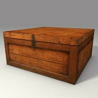 Low Poly Wooden Box 3d Model