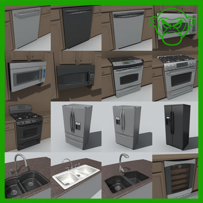 3d 3ds large appliance set - large appliance set... by monkeyodoom