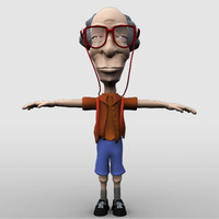 3d rigged grandpa model