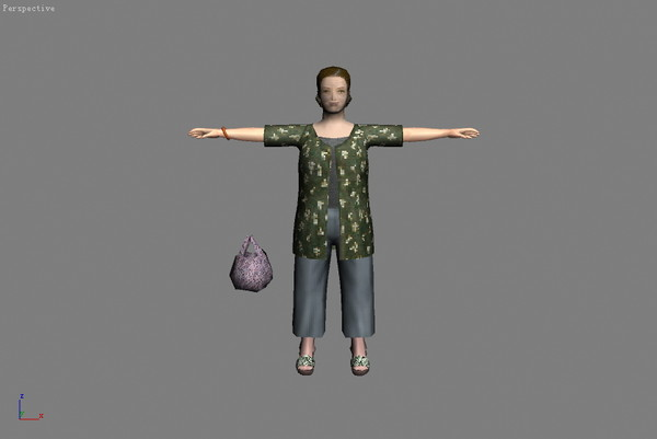 3d model of asia china woman children
