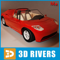 3d model electric sport car tesla