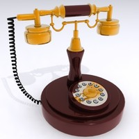 old fashion telephone antique 3d model