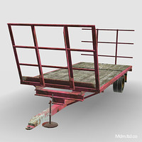 3d model hay trailer farm