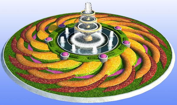 parterre fountain 3d model