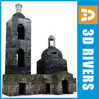 ruined church building 3d model