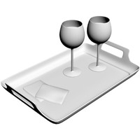 3d wine tray glasses model
