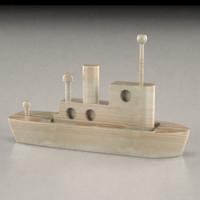 3d model wooden boat