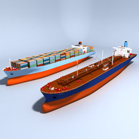 container ship tortuga tanker 3d model