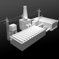 Factory Buildings Low-Poly