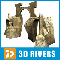 3d model of ruined building arches