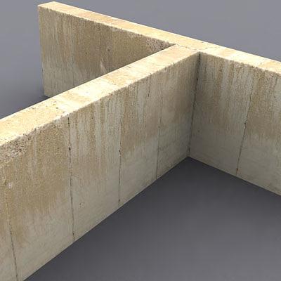 3d model industrial concrete wall - Concrete fence models design ...