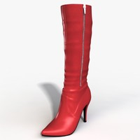 heel boots modeled female 3d model