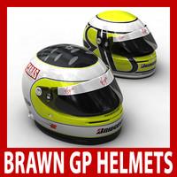 brawn f1 helmets 1 3d c4d