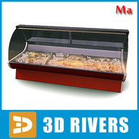 3d fbx display freezer fish 01