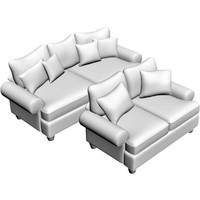 sofa loveseat 3d model