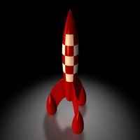 tintin rocket 3d obj