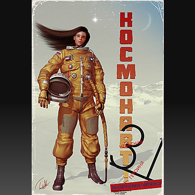 female astronaut 3d model - Astronaut! Cosmonaut!... by Afflictor