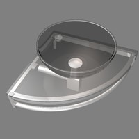 3d corner glass sink
