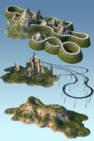 mountain roller coaster 3d model