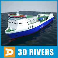 Ro-ro container ship full by 3DRivers