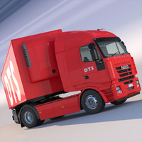 iveco stralis refrigerated semi trailer 3d model