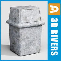 3d model street trash cans