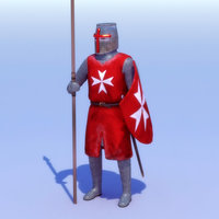 knight games rigged character 3d model
