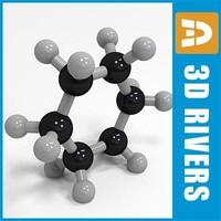 cyclohexane molecule structure 3d model