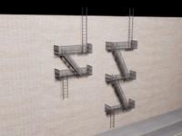 3d escape stairs model