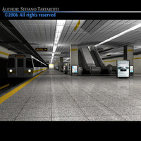 3d subway station train
