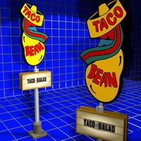 taco bean sign 01 3d 3ds
