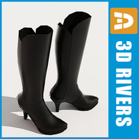3d model knee-high boots shoes