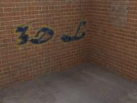 3d alley corner graffiti wall brick model