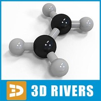 ethylene molecule structure 3d model