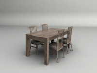 3d model light wood dining table