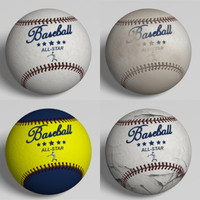 3ds 4 baseballs ball polygons